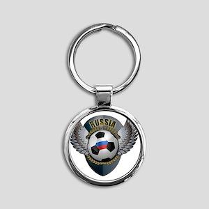 soccer_ball_crest_russia Round Keychain