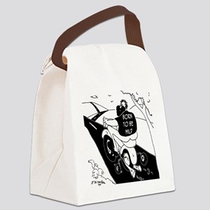 6972_motorcycle_cartoon Canvas Lunch Bag