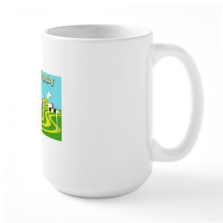 Funny hurdle happy birthday cafe press Large Mug