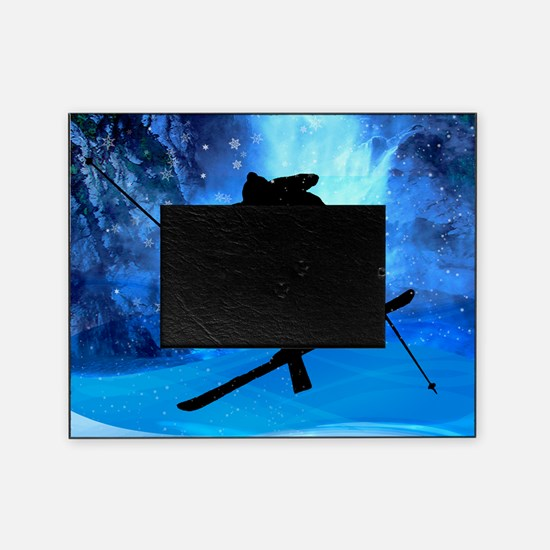 Winter Landscape and Freestyle Skier Picture Frame