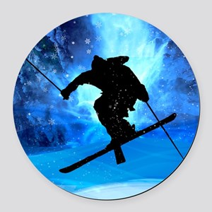 Winter Landscape and Freestyle Sk Round Car Magnet