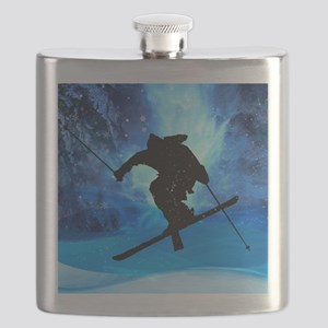 Winter Landscape and Freestyle Skier Flask