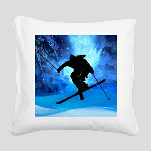 Winter Landscape and Freestyl Square Canvas Pillow