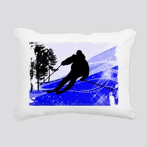 Downhill on the Ski Slop Rectangular Canvas Pillow