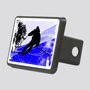 Downhill on the Ski Slope  Rectangular Hitch Cover