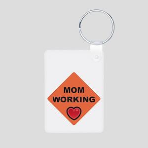 momworkingBIGblack Aluminum Photo Keychain