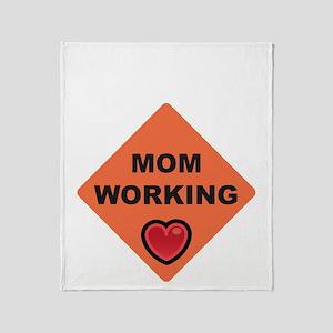 momworkingBIGblack Throw Blanket