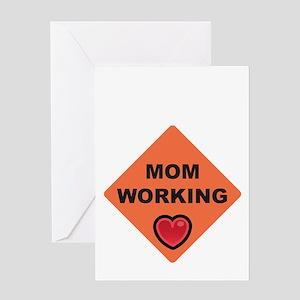 momworkingBIGblack Greeting Card