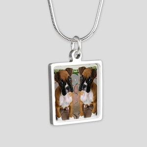 flip flops boxer Silver Square Necklace
