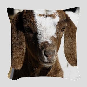 Cute kid goat Woven Throw Pillow