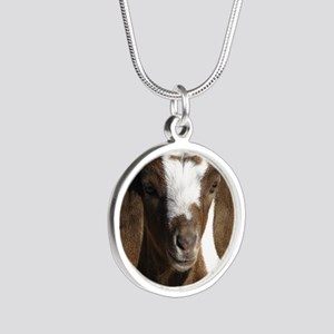 Cute kid goat Silver Round Necklace