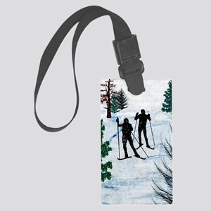 Two Cross Country Skiers in Snow Large Luggage Tag