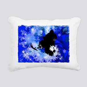 Snowmobiling in the Aval Rectangular Canvas Pillow