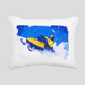 Yellow Snowmobile in Bli Rectangular Canvas Pillow