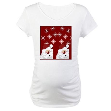 Santa Claus Holiday Christmas Fl Maternity T-Shirt