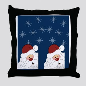 Santa Claus Holiday Flip Flops Blue Throw Pillow