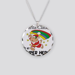 Santa Claus is My Superhero Necklace Circle Charm
