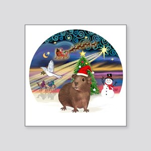 "R-XmasMagic-GuineaPig3-HAT Square Sticker 3"" x 3"""