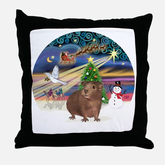 R-XmasMagic-GuineaPig3 Throw Pillow