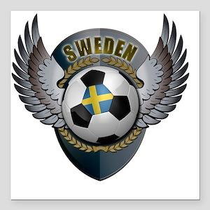 """soccer_ball_crest_sweden Square Car Magnet 3"""" x 3"""""""