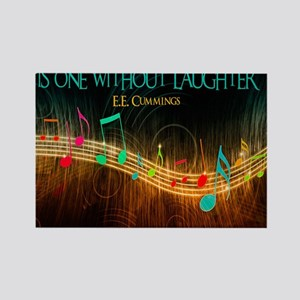 Without Laughter Quote on Tile Co Rectangle Magnet