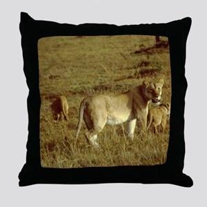 african lion female with cubs Throw Pillow