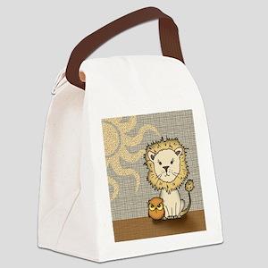 l i o n and o w l print Canvas Lunch Bag