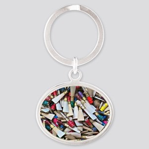 Reeds-framed print Oval Keychain