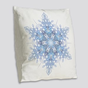 Snowflake Designs - 023 - tran Burlap Throw Pillow