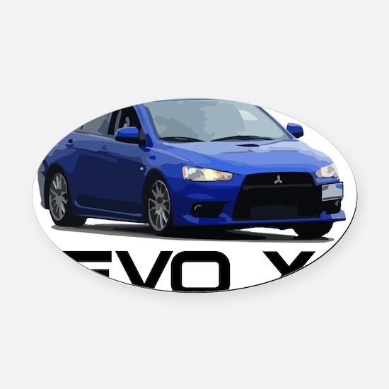 Evo Corner Work Black Oval Car Magnet