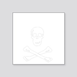 """Title with Skull and Bones Square Sticker 3"""" x 3"""""""
