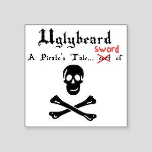 "Uglybeard Logo Black Letter Square Sticker 3"" x 3"""