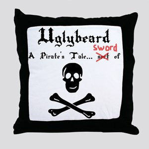Uglybeard Logo Black Letters Throw Pillow