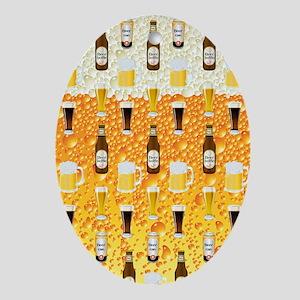 Beer Flip Flops Oval Ornament