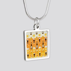 Beer Flip Flops Silver Square Necklace
