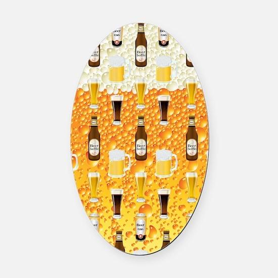 Beer Flip Flops Oval Car Magnet