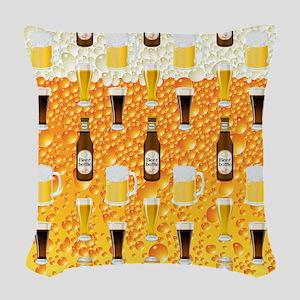 Beer Flip Flops Woven Throw Pillow