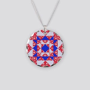 Red White  Blue Floral and D Necklace Circle Charm