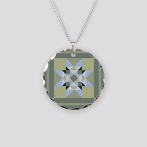 Blue  Green Comples Star Pat Necklace Circle Charm