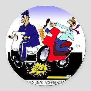 7431_scooter_cartoon Round Car Magnet