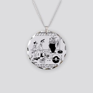 6869_motorcycle_cartoon Necklace Circle Charm