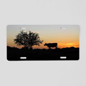 Cow at sundown Aluminum License Plate