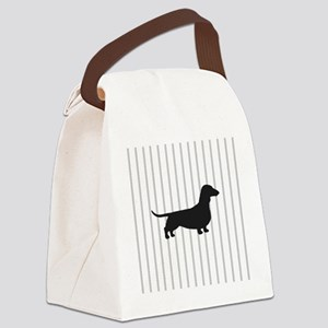 doxiestripepillow2 Canvas Lunch Bag