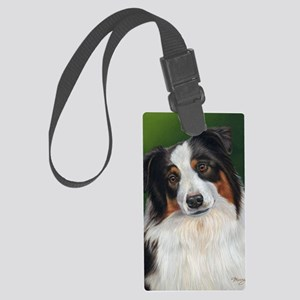 Australian Shepherd Tri Large Luggage Tag