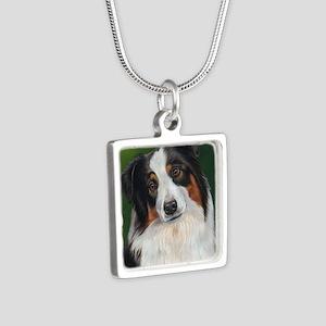 Australian Shepherd Tri Silver Square Necklace