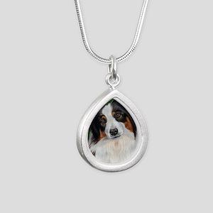 Australian Shepherd Tri Silver Teardrop Necklace