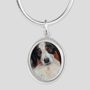 Australian Shepherd Tri Silver Oval Necklace