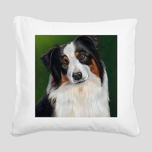 Australian Shepherd Tri Square Canvas Pillow