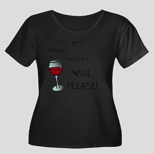 wineplea Women's Plus Size Dark Scoop Neck T-Shirt