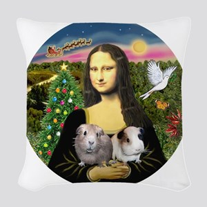 R-Mona-Two GuineaPigs Woven Throw Pillow